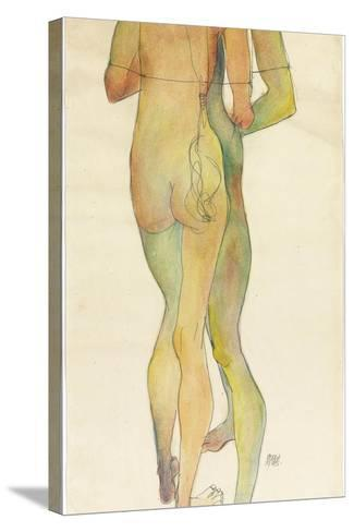 Two Standing Nudes, 1913-Egon Schiele-Stretched Canvas Print