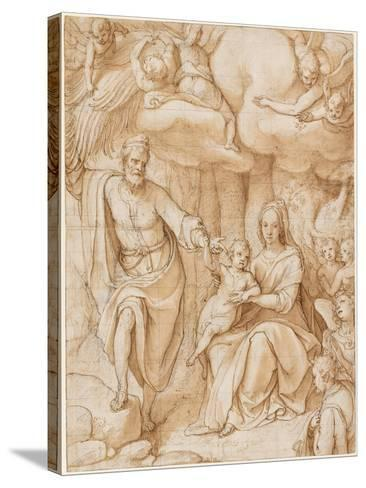 Rest on the Flight into Egypt (Black Chalk with Pen and Ink and Wash on Paper)-Federico Zuccaro-Stretched Canvas Print