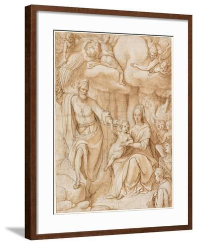 Rest on the Flight into Egypt (Black Chalk with Pen and Ink and Wash on Paper)-Federico Zuccaro-Framed Art Print