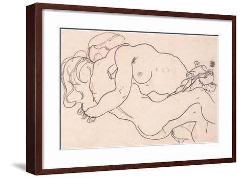 Two Embracing Female Nudes, 1918-Egon Schiele-Framed Art Print