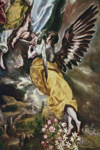 The Immaculate Conception (Detail of Angel-El Greco-Stretched Canvas Print