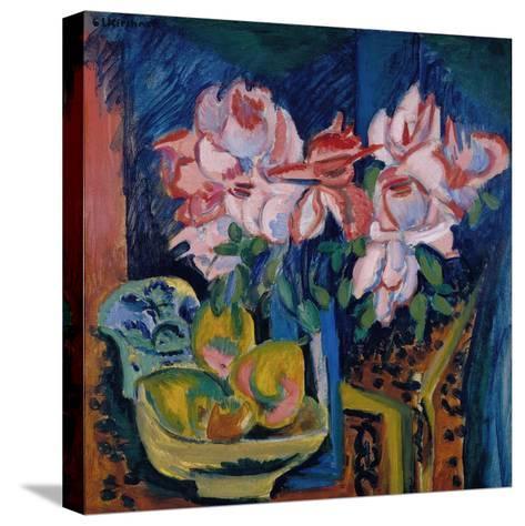 Pink Roses, 1918-Ernst Ludwig Kirchner-Stretched Canvas Print