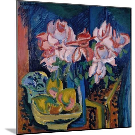Pink Roses, 1918-Ernst Ludwig Kirchner-Mounted Giclee Print