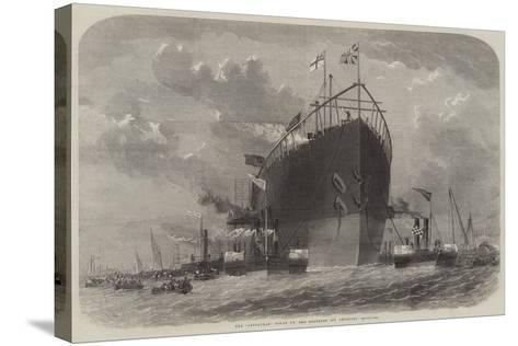 The Leviathan Towed to Her Moorings Off Deptford-Edwin Weedon-Stretched Canvas Print