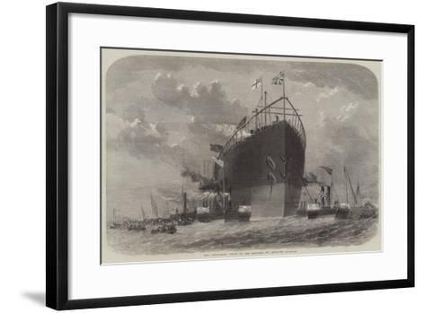 The Leviathan Towed to Her Moorings Off Deptford-Edwin Weedon-Framed Art Print
