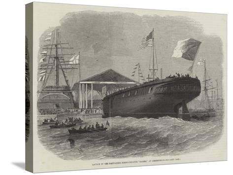 Launch of the Portuguese Screw-Corvette Sagres, at Limehouse-Edwin Weedon-Stretched Canvas Print