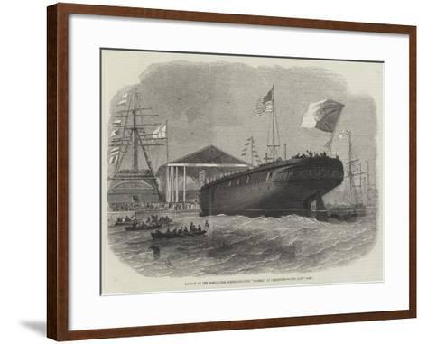 Launch of the Portuguese Screw-Corvette Sagres, at Limehouse-Edwin Weedon-Framed Art Print
