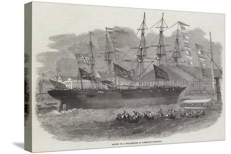 Launch of a War-Steamer at Limehouse Dockyard-Edwin Weedon-Stretched Canvas Print