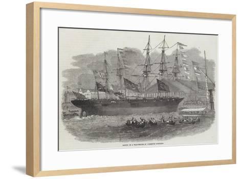 Launch of a War-Steamer at Limehouse Dockyard-Edwin Weedon-Framed Art Print