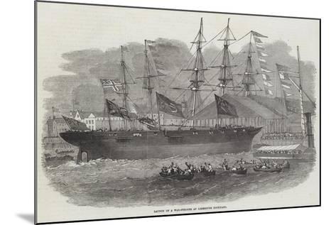 Launch of a War-Steamer at Limehouse Dockyard-Edwin Weedon-Mounted Giclee Print