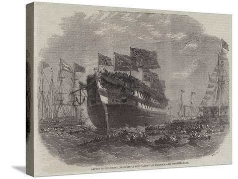 Launch of the Screw Line-Of-Battle Ship Anson at Woolwich-Edwin Weedon-Stretched Canvas Print