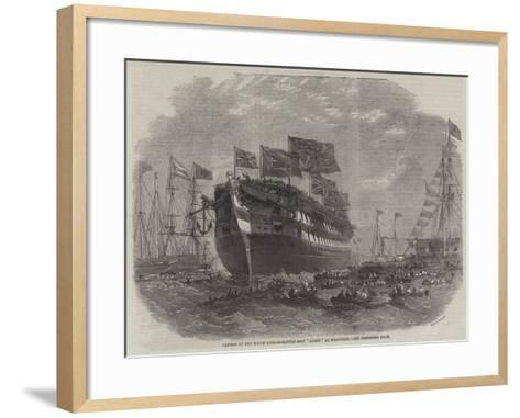 Launch of the Screw Line-Of-Battle Ship Anson at Woolwich-Edwin Weedon-Framed Art Print
