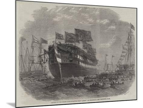 Launch of the Screw Line-Of-Battle Ship Anson at Woolwich-Edwin Weedon-Mounted Giclee Print