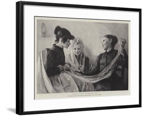 Trying on the Communion Veil-F. M. Stark-Framed Art Print