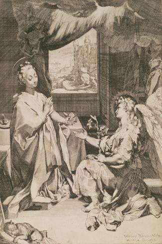 The Annunciation, C.1581-Federico Fiori Barocci-Stretched Canvas Print