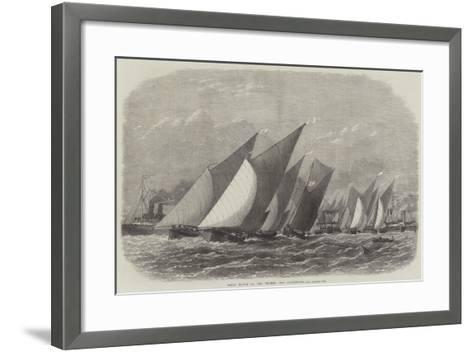 Barge Match on the Thames, Off Greenhithe-Edwin Weedon-Framed Art Print