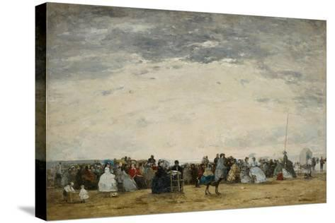 Vacationers on the Beach at Trouville, 1864-Eugene Louis Boudin-Stretched Canvas Print