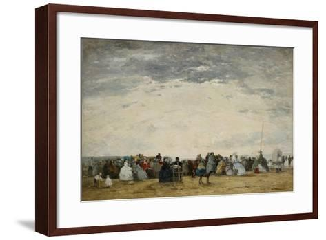 Vacationers on the Beach at Trouville, 1864-Eugene Louis Boudin-Framed Art Print