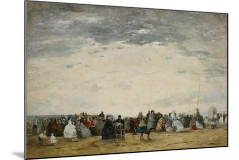 Vacationers on the Beach at Trouville, 1864-Eugene Louis Boudin-Mounted Giclee Print