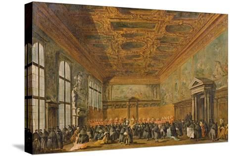 Audience Granted by the Doge of Venice in the College Room of Doge's Palace, C.1766-70-Francesco Guardi-Stretched Canvas Print