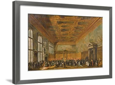 Audience Granted by the Doge of Venice in the College Room of Doge's Palace, C.1766-70-Francesco Guardi-Framed Art Print