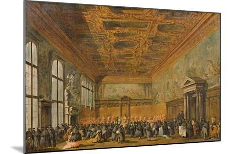 Audience Granted by the Doge of Venice in the College Room of Doge's Palace, C.1766-70-Francesco Guardi-Mounted Giclee Print