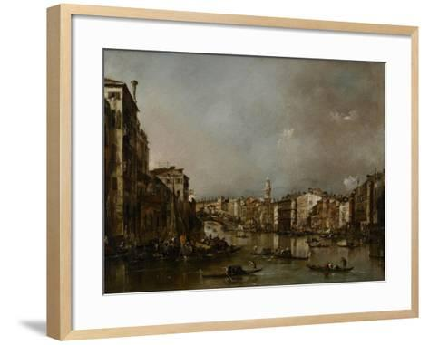 View Up the Grand Canal Toward the Rialto, C.1785-Francesco Guardi-Framed Art Print