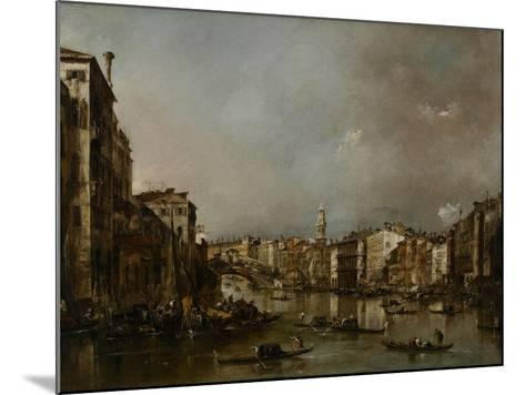 View Up the Grand Canal Toward the Rialto, C.1785-Francesco Guardi-Mounted Giclee Print