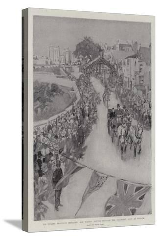 The Queen's Eightieth Birthday, Her Majesty Driving Through the Triumphal Arch at Windsor-Frank Craig-Stretched Canvas Print