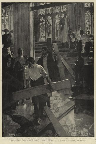 Preparing for the Funeral Service in St George's Chapel, Windsor-Frank Craig-Stretched Canvas Print