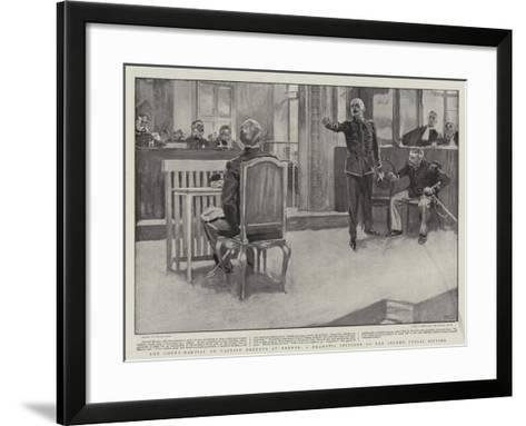 The Court-Martial on Captain Dreyfus at Rennes, a Dramatic Incident of the Second Public Sitting-Frank Craig-Framed Art Print