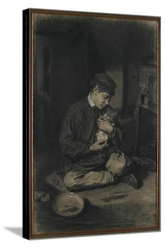 Seated Boy Holding a Cat (Recto); Study of Kittens and a Plate of Milk (Verso), C. 1874-1880-Francois Bonvin-Stretched Canvas Print
