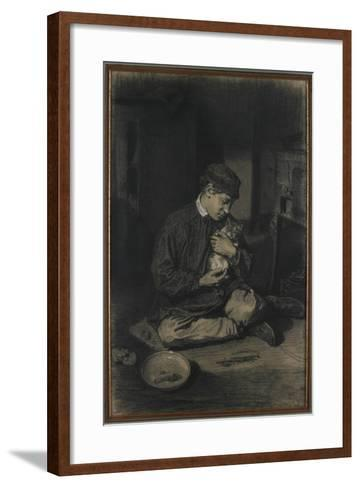 Seated Boy Holding a Cat (Recto); Study of Kittens and a Plate of Milk (Verso), C. 1874-1880-Francois Bonvin-Framed Art Print