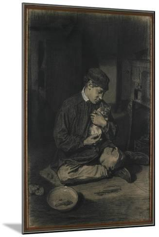 Seated Boy Holding a Cat (Recto); Study of Kittens and a Plate of Milk (Verso), C. 1874-1880-Francois Bonvin-Mounted Giclee Print