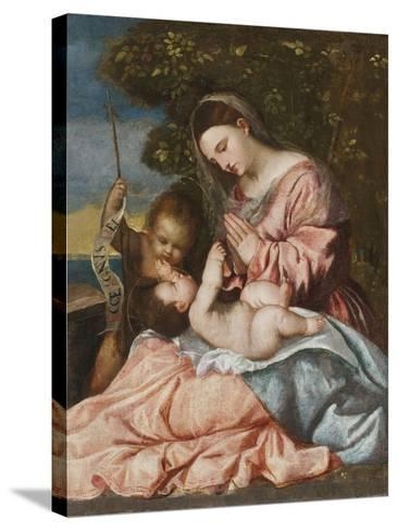 Madonna and Child with the Infant John the Baptist, C.1515-25-Francesco Vecellio-Stretched Canvas Print