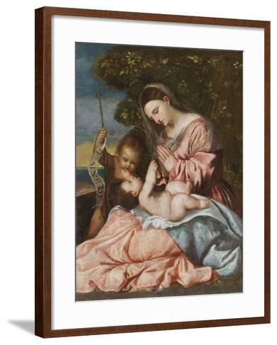 Madonna and Child with the Infant John the Baptist, C.1515-25-Francesco Vecellio-Framed Art Print