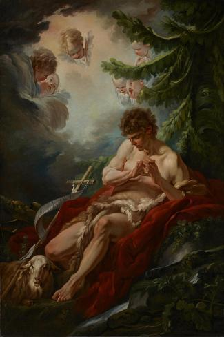 Saint John the Baptist, C.1755-Francois Boucher-Stretched Canvas Print