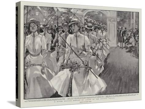 A Novel Bicycle Display by Ladies at the Crystal Palace-Frank Craig-Stretched Canvas Print