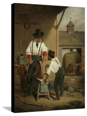 The Scythe Grinder, 1856-Francis William Edmonds-Stretched Canvas Print
