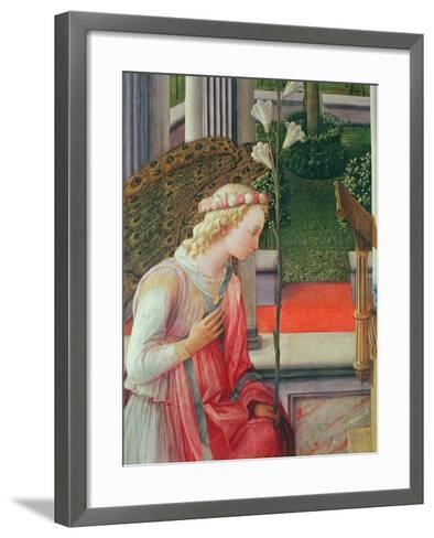 The Annunciation, Detail of the Angel Gabriel-Fra Filippo Lippi-Framed Art Print