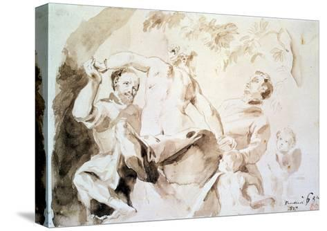 Study after Veronese's Allegory of Love, 1837 (Pen and Ink and Wash on Paper)-Eugene Delacroix-Stretched Canvas Print