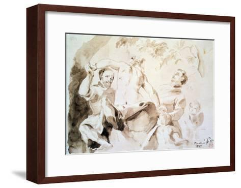 Study after Veronese's Allegory of Love, 1837 (Pen and Ink and Wash on Paper)-Eugene Delacroix-Framed Art Print