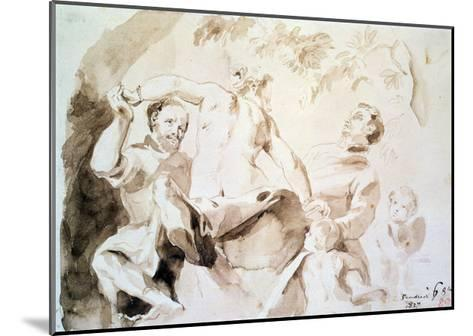 Study after Veronese's Allegory of Love, 1837 (Pen and Ink and Wash on Paper)-Eugene Delacroix-Mounted Giclee Print