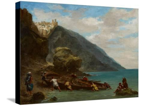 View of Tangier from the Seashore, 1856-8-Eugene Delacroix-Stretched Canvas Print