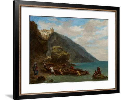 View of Tangier from the Seashore, 1856-8-Eugene Delacroix-Framed Art Print