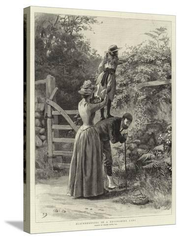 Blackberrying in a Devonshire Lane-Frank Dadd-Stretched Canvas Print
