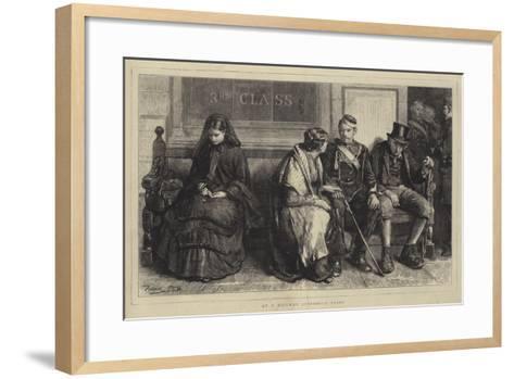 At a Railway Station, a Study-Frank Holl-Framed Art Print