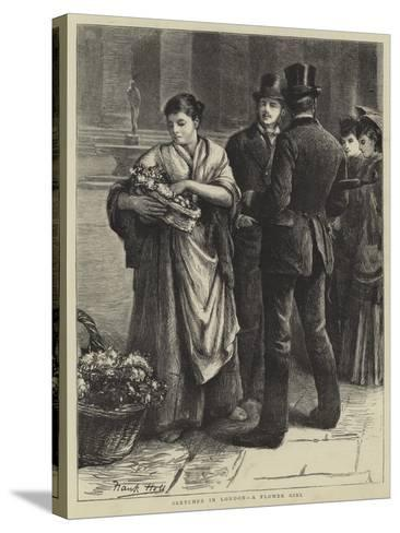 Sketches in London, a Flower Girl-Frank Holl-Stretched Canvas Print