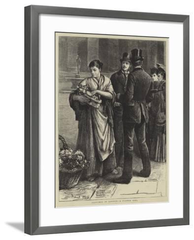 Sketches in London, a Flower Girl-Frank Holl-Framed Art Print