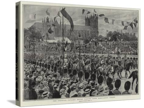 The Colonial Cavalry Escort Passing Down Parliament Street-Frank Dadd-Stretched Canvas Print